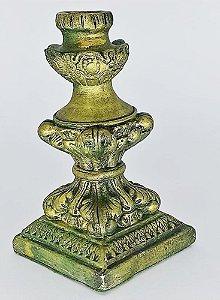 Castiçal Ornamental Dourado Artesanal