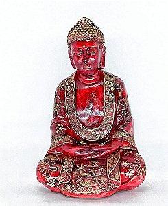 Estátua de Buda Vermelho com Detalhes em Dourado Artesanal