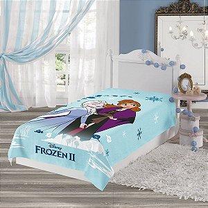 Manta Fleece Solteiro Estampada Frozen 2 Azul Claro Lepper