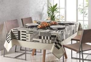 Toalha de mesa Retangular Karsten 6 Lugares Sempre Limpa Mosaico