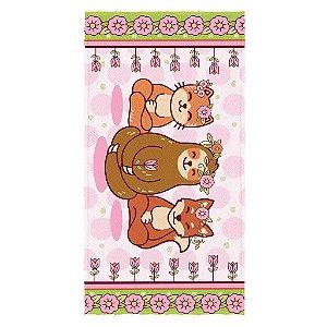 Toalha de Banho Infantil Lepper Floresta Encantada Rosa
