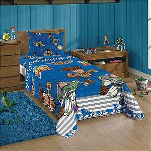 Jogo de Cama Solteiro Microfibra 3 peças Toy Story 4 Lepper Azul