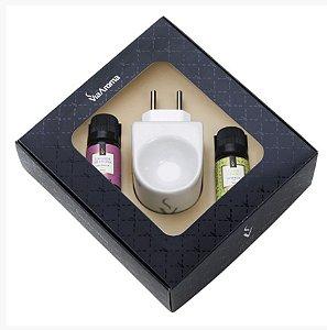 Kit Aromatizador Elétrico de Porcelana + 02 Essências (Capim Limão e Lavanda Francesa) Via Aroma