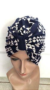 Turbante estampado azul escuro
