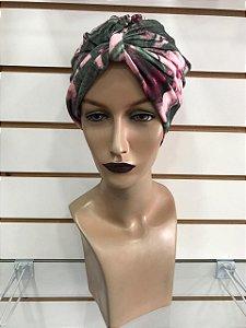 Turbante estampado flores fundo rosa