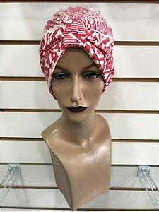 Turbante estampado vermelho