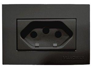 Tomada Embutir 2P+T 10A 250 V Preta para Móveis