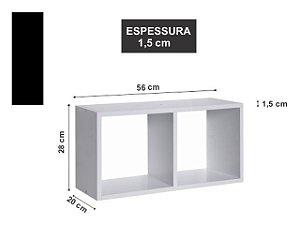Nicho Duplo 56x28x20 cm Preto