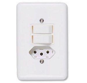 Interruptor Branco 2 Tecla+Tomada