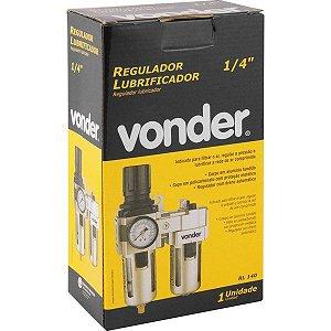 """Regulador e lubrificador 1/4"""" RL 140 VONDER"""