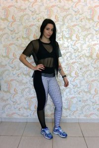 Legging Fitline Preto/Branco