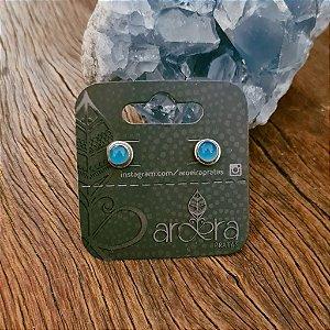 Brinco Pequeno em Prata 925 e Calcedônia Azul