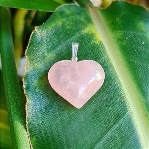 Pingente Coração em Prata 925 e Quartzo Rosa