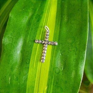 Pingente Crucifixo em Prata 925 e Marcassita