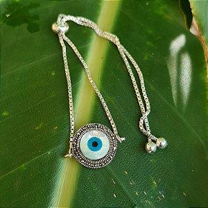 Pulseira Olho Grego em Prata 925, Madrepérola e Marcassita