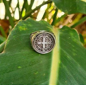Anel Dupla Face Medalha de São Bento em Prata 925