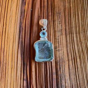 Pingente em Prata 925, Água Marinha Bruta e Topázio Azul