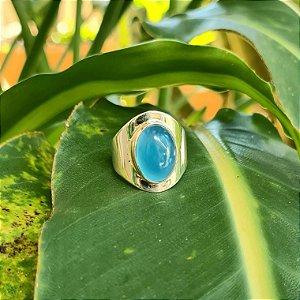 Anel em Prata 925 e Calcedônia Azul