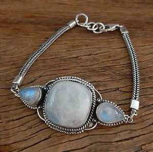 Pulseira em Prata 925 e Pedra da Lua