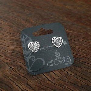 Brinco Pequeno Coração em Prata 925 e Zircônia