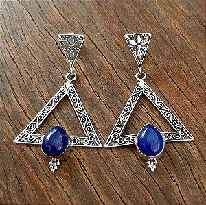 Brinco Grande em Prata 925 e Lápis Lazuli