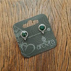 Brinco Pequeno em Prata 925 e Esmeralda