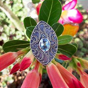Anel em Prata 925 e Topázio Azul