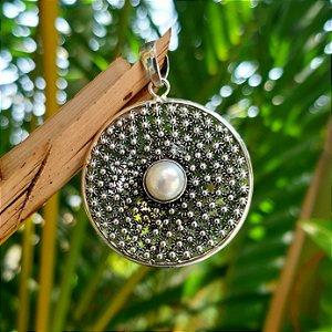 Pingente Mandala em Prata 925 e Pérola de Cultivo