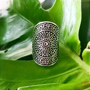 Anel Mandala Estamparia em Prata 925