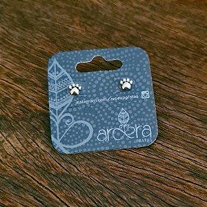 Brinco Pequeno Pata de Cachorro em Prata 925 e Aplique em Ouro 18k