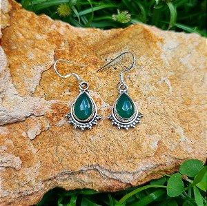 Brinco Médio em Prata 925 e Jade