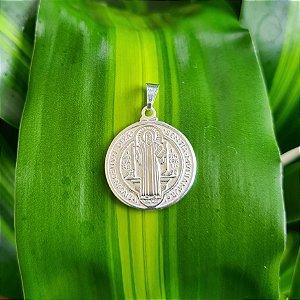 Pingente Medalha de São Bento em Prata 925