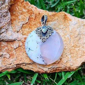 Pingente em Prata 925, Dendrita e Topázio Azul