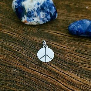 Pingente Medalha Símbolo da Paz em Prata 925