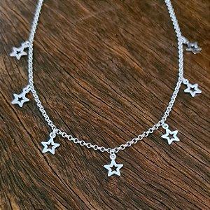 Choker Estrelas Vazadas em Prata 925