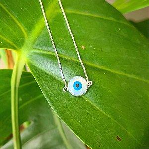 Tornozeleira Olho Grego em Prata 925 e Madrepérola