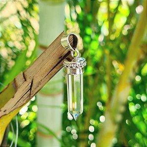 Pingente em Prata 925 e Cristal de Ponta