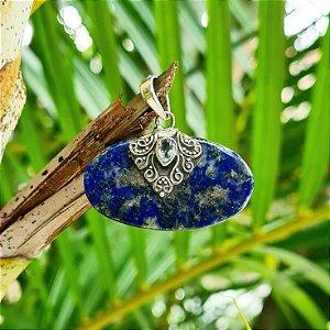 Pingente em Prata 925, Lápis Lazuli e Topázio Azul