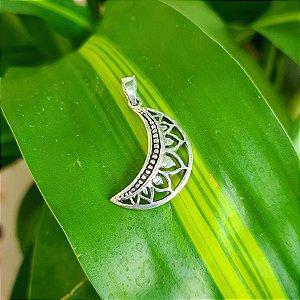 Pingente Meia Lua com Mandala em Prata 925