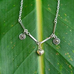 Tornozeleira com Penduricalhos Mandala e Coração em Prata 925