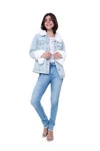 Jaqueta Rosa Line Jeans Clara Forrada