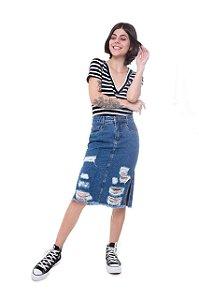 Saia B.Live Jeans Midi Racha Lateral