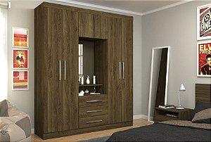 Guarda-Roupa / Roupeiro Marino Capelinha Com Espelho Castanho Rústico - Eucamóveis