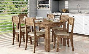 Conjunto Mesa 100% MDF TM23 Com 06 Cadeiras CA12 Rústico/Chenille Marrom Dalla Costa