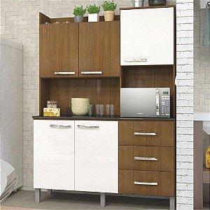 Kit Cozinha Cris 5 Portas E 3 Gavetas Ipê/branco/Ipê - Luciane Cozinhas