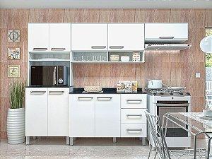 Cozinha Cris 4 Peças 9 Portas 3 Gavetas Ártico com Branco - Luciane