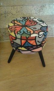 Puff Decorativo Redondo Estampa Romero Brito - Girassol