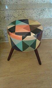 Puff Decorativo Redondo Estampa Triangulo Color - Girassol