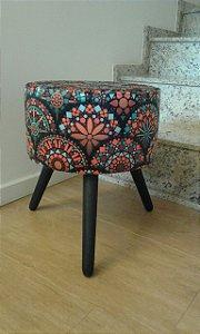 Puff Decorativo Redondo Estampa Mosaico - Girassol
