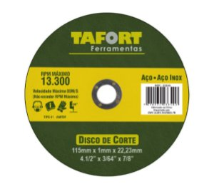 Disco De Corte Para Inox 115X1,0X22mm T41 - TAFORT_